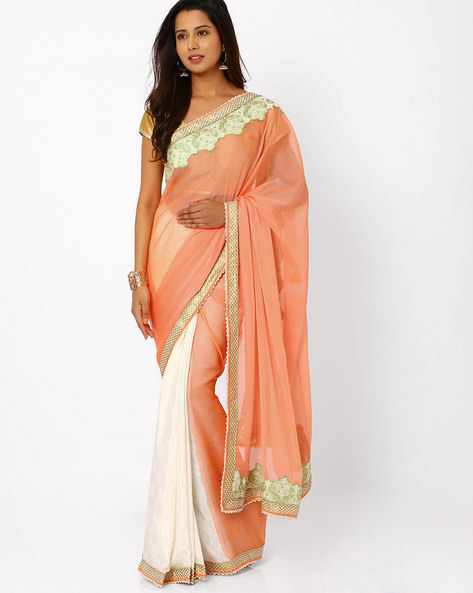 Chiffon Half & Half Saree By Viva N Diva ( Orange )