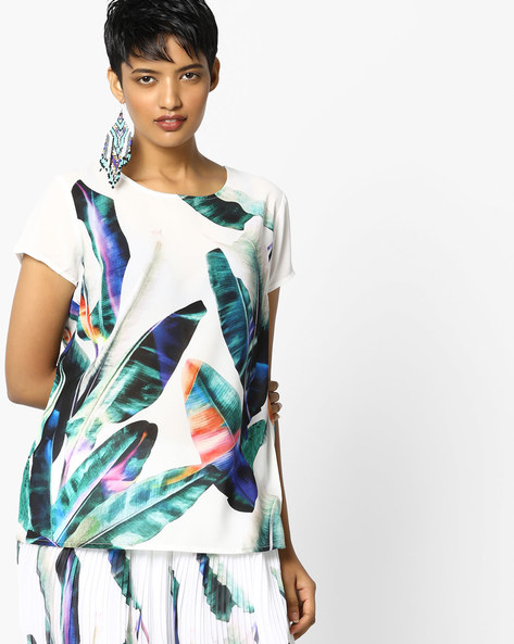 Printed Crew-Neck Top By PE WW Evening ( White )
