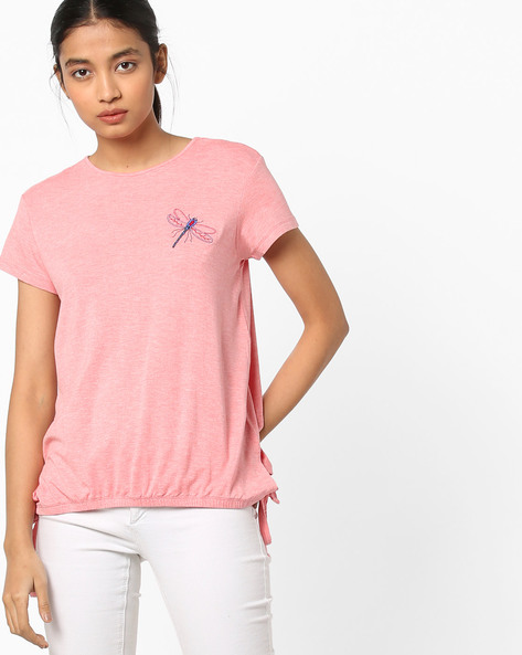 Crew-Neck Top With Tie-Up Hemline By AJIO ( Coral )