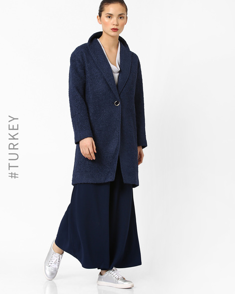 Trench Coat With Button Closure By Closet London ( Navyblue )