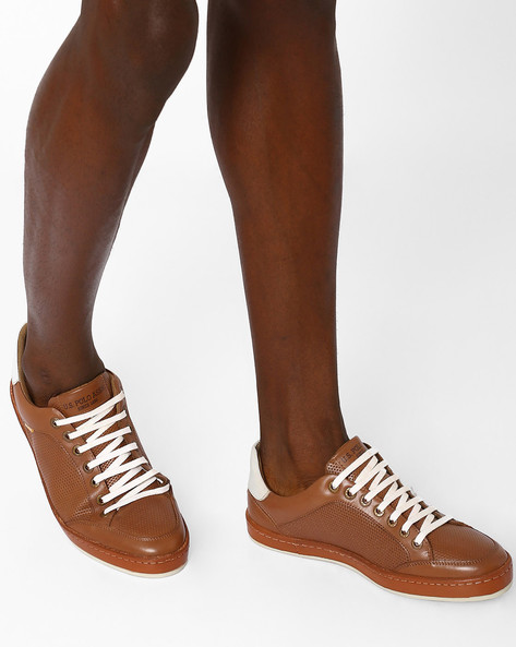 Leather Shoes With Perforations By USPA ( Tan )