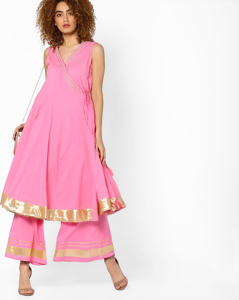 Kalidar Kurta With Tasselled Tie-Ups By AJIO ( Lightpink )
