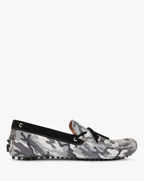 Camouflage Print N9-Treated Suede Boat Shoes By AJIO ( Grey )