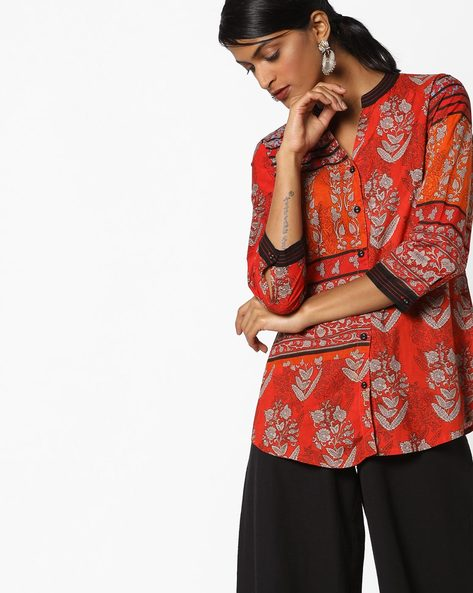 Printed Shirt With Mandarin Collar By Rain & Rainbow ( Red )