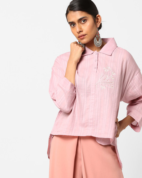 High-Low Tunic With Floral Embroidery By AJIO ( Mauve )
