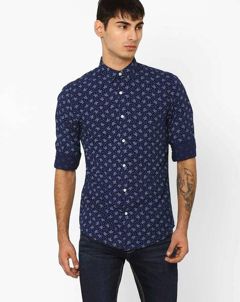 Slim Fit All-Over Print Shirt By ADAMO LONDON ( Indigo )