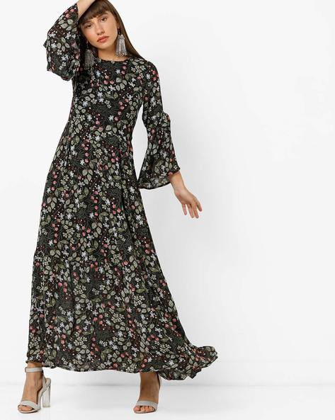 Floral Print Tiered Dress With Flared Sleeves By Femella ( Black )