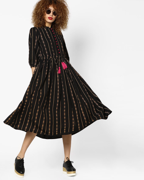 Printed A-line Dress With Tassel Tie-Up By AJIO ( Black )
