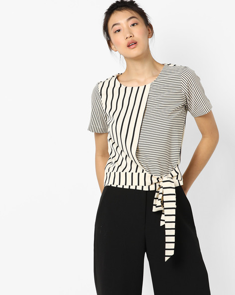 Striped Layered Top With Tie-Up By AJIO ( Ivory )