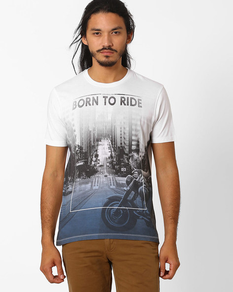 Front Panel Printed T-shirt By WRANGLER ( White )