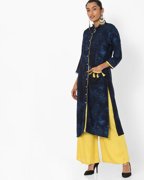 Button-Down Kurta & Palazzo Suit Set By Shree ( Navyblue )