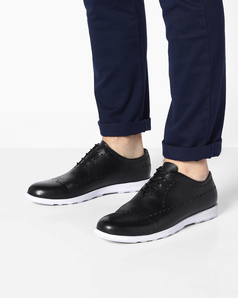 Genuine Leather Casual Shoes With Broguing By Acuto ( Black )