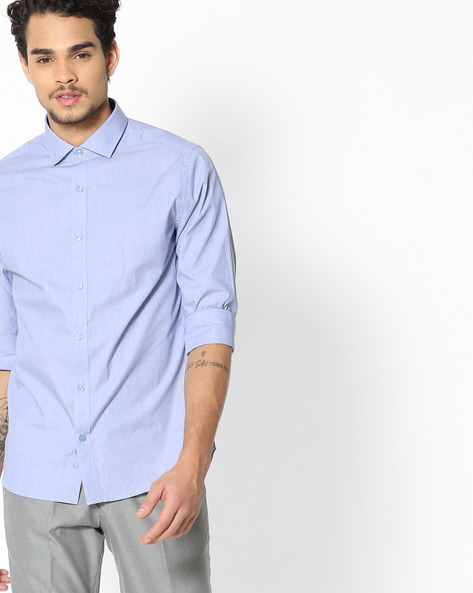 Regular Fit Shirt With Rounded Cuffs By UNITED COLORS OF BENETTON ( Blue )