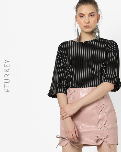 Striped Top With Drop-Shoulder Sleeves By TRENDYOL ( Black )