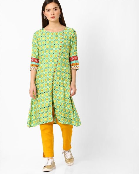 Printed Kurta With Front Slit By FUSION ( Green )