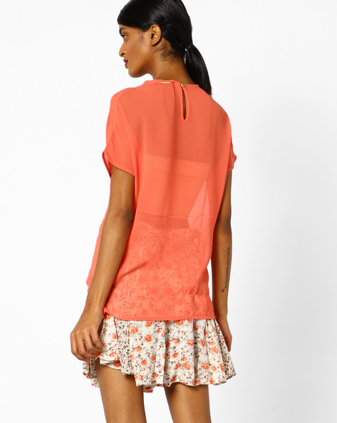 Embroidered Top With Lace Inserts By Oxolloxo ( Peach )
