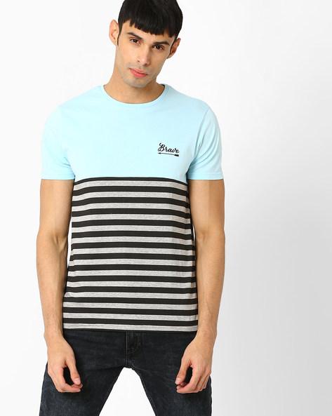 Colourblock Crew-Neck T-shirt By AJIO ( Blue )
