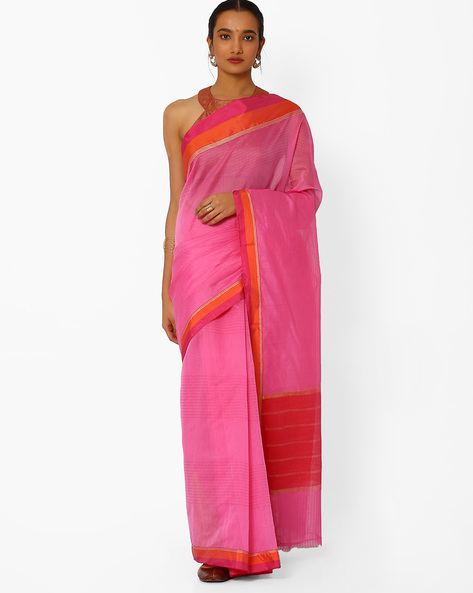 Striped Saree With Contrast Border By Amori ( Pink )