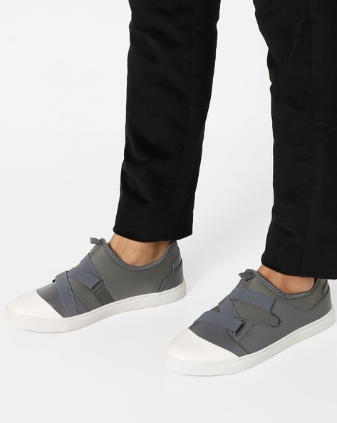Panelled Sneakers With Elasticated Gussets By AJIO ( Grey )