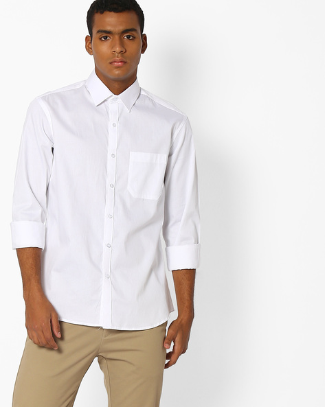 Regular Fit Shirt With Patch Pocket By NETWORK ( White )