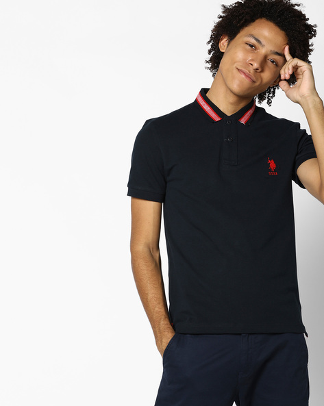 Polo T-shirt With Vented Hem By US POLO ( Navy )