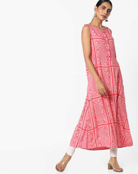 Printed Sleeveless Kurta By Project Eve IW Casual ( Peach )