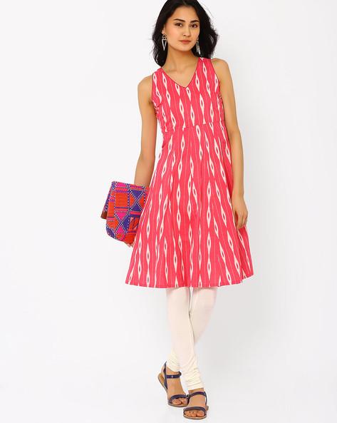 Printed Dress By AJIO ( Fuchsia )