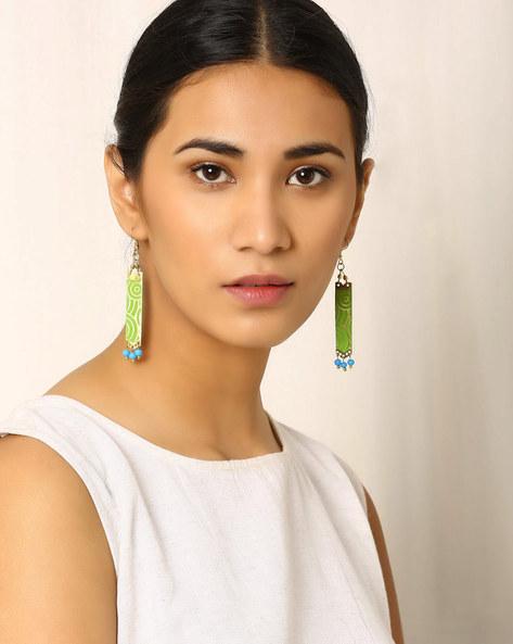 Brass Drop-Earrings By Indie Picks ( Green )
