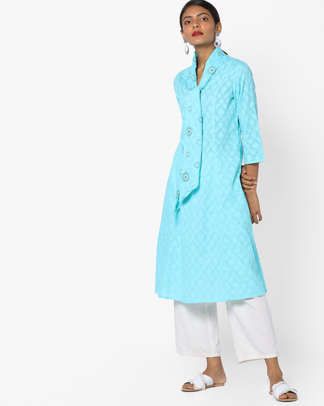Dobby-Weave Kurta With Tie-Up Neck By AJIO ( Mint )