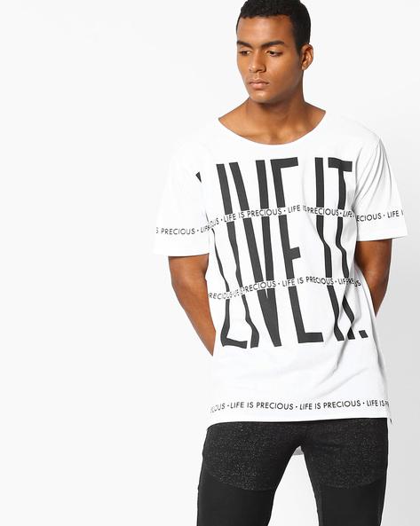 Printed Cotton Slim T-shirt By ADAMO LONDON ( White )