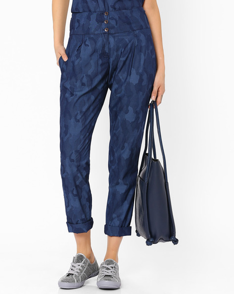 High-Rise Trousers With Camouflage Print By AJIO ( Blue )