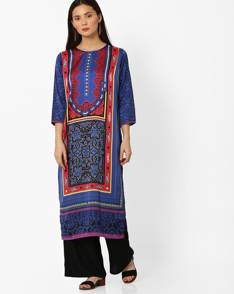 Digital Print Straight Kurta By Indian Ink ( Blue )