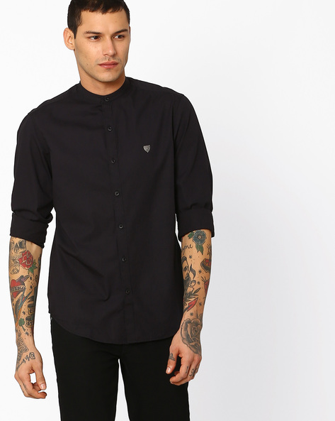Cotton Slub Shirt With Mandarin Collar By JOHN PLAYERS ( Black )