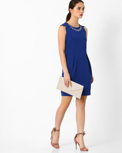 Sheath Dress With Embellished Neckpiece By AJIO ( Blue )