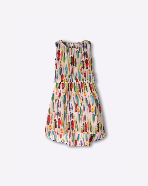 Sleeveless Printed A-Line Dress With Bobble Trim By Peppermint ( Multi )