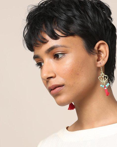 Beaded Dangler Earrings With Tassels By Indie Picks ( Red ) - 460189682001