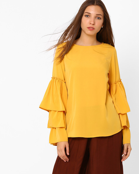 Top With Layered Bell Sleeves By Rena Love ( Mustard )