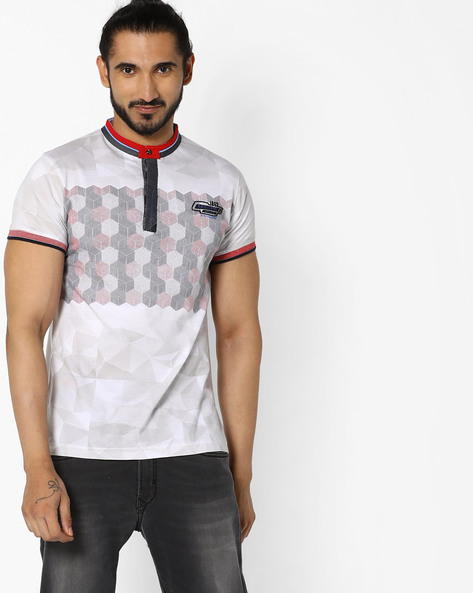 Printed T-shirt With Mandarin Collar By Fort Collins ( White )