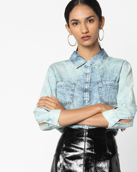 Shirt With Patch Pockets By Ginger By Lifestyle ( Blue )