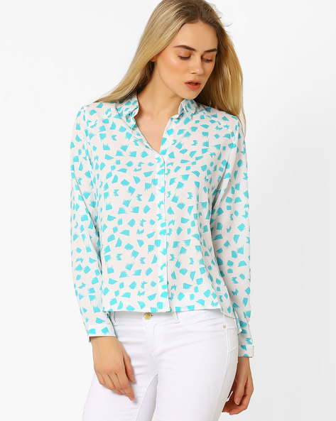 Colour-Block Shirt With High-Low Hem By CHM ( White )