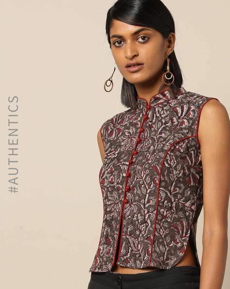 Handblock Print Cotton Sleeveless Mandarin Collar Long Blouse By Molcha ( Multi ) - 460168393001