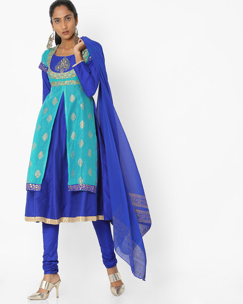Layered Churidar Kurta With Dupatta By Trishaa By Pantaloons ( Green )