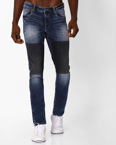 Mid-Rise Tapered Fit Jeans By AJIO ( Dkblue )