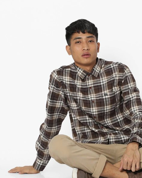 Slim Fit Checked Shirt With Patch Pocket By The Indian Garage Co ( Brown )