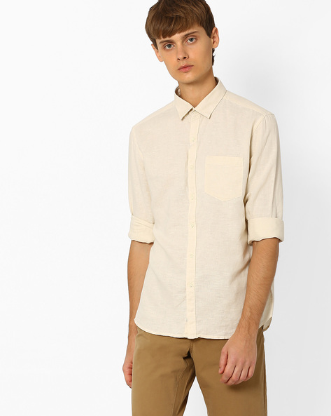 Linen Shirt With Patch Pocket By NETPLAY ( Beige )