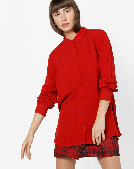 Shirt With Band Collar By Only ( Red )
