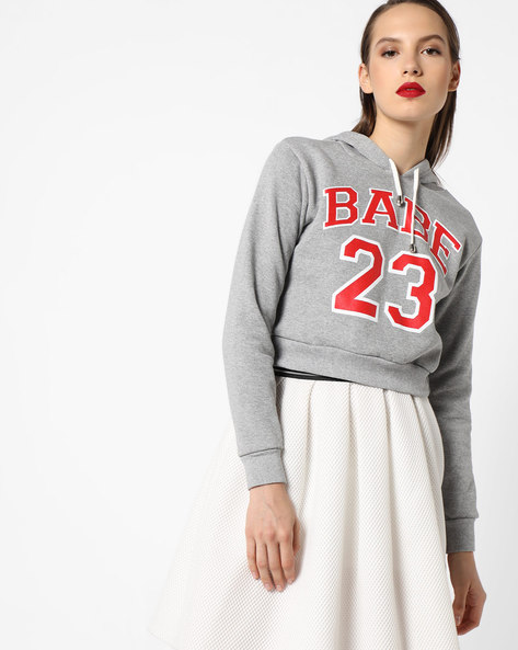 Hooded Cropped Sweatshirt By INFLUENCE ( Grey )