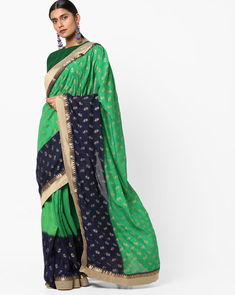 Floral Pattern Colourblock Saree With Zari Work By Viva N Diva ( Green )