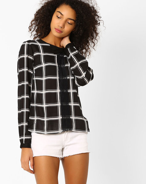 Checked Top With Bow By Oxolloxo ( Black )