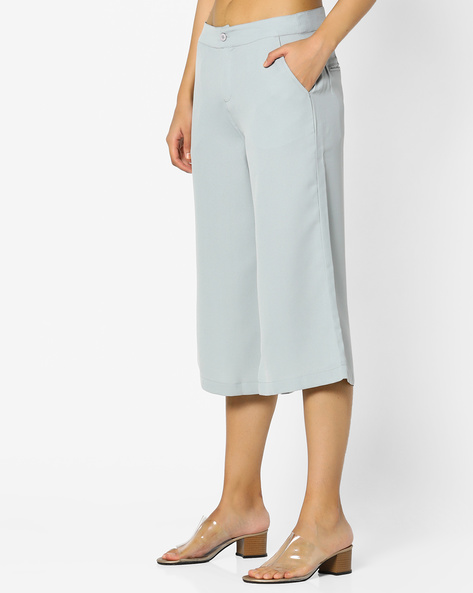 Flat-Front Culottes With Scoop Pockets By Project Eve WW Casual ( Ltblue )